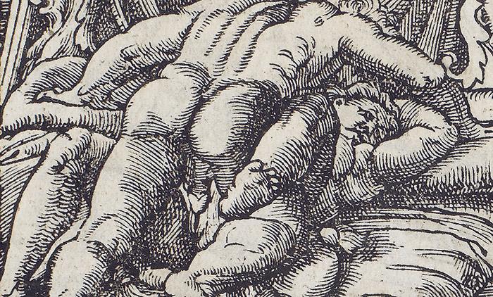 "Fig. 2. Copie d'un artiste inconnu du ""I Modi"" de Marcantonio Raimondi, 'Toscanini volume', c1555. Collection privée, Milan"