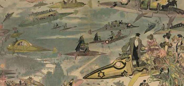 La sortie de l'opéra. Voyage aérien au-dessus de Paris en 2000, comme on l'imaginait à la fin du XIXe siècle - Crédit : Bibliothèque du Congrès