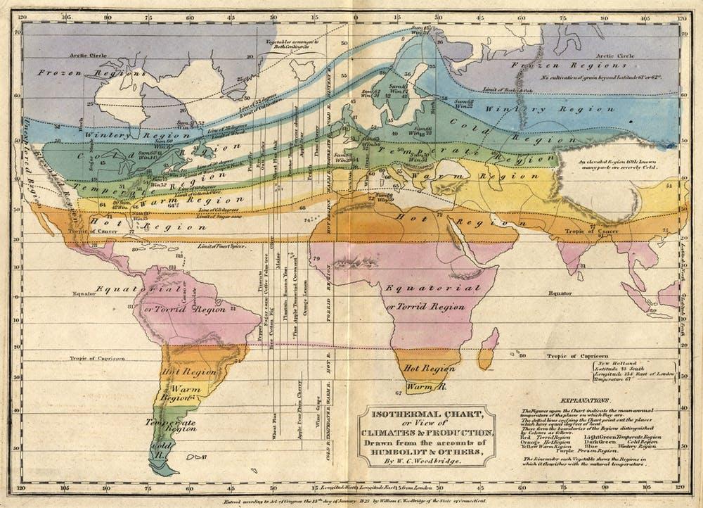 Une carte de 1823 utilisant l'innovation de Humboldt en matière de lignes isothermes, reliant des points d'une même température.
