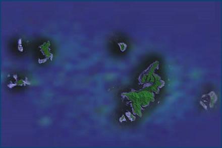 Naar een onbewoond eiland karakteristiek fotografie - Centraal eiland om te eten ...