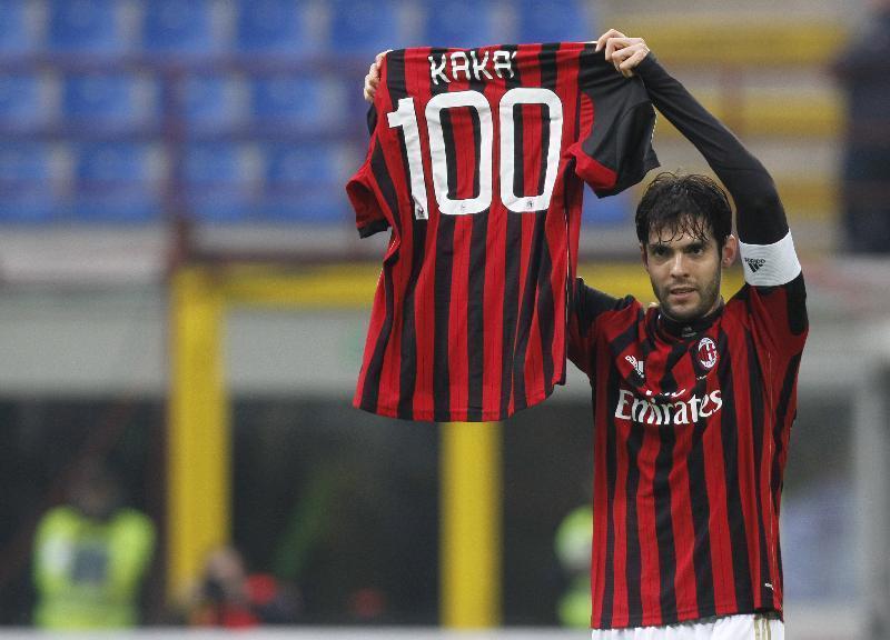 Kaka celebrates his 100th (& 101st) goal for Milan with Kaka 100 jersey