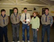 explorer scouts present cheque