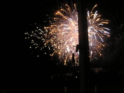 castle fireworks seen from sitting room window