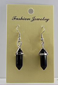 Black Obsidian Gemstone Bi-Point Earrings