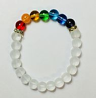 Chakra Bracelet with Clear Beads