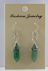 Green Aventurine Gemstone Bi-Point Earrings
