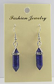 Lapis Gemstone Bi-Point Earrings