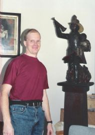 Myself with the iconic figurehead in Bill McCutcheon's office at Clifton 1989