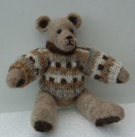 needlefelt teddy with knitted pullover
