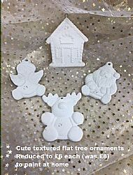 Shaped tree ornaments, sale price £6
