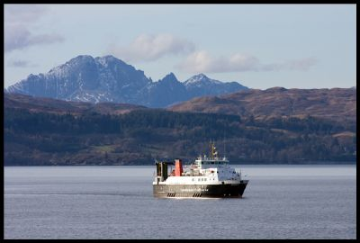 the calmac ferry 'loch nevis' approaching mallaig with skye in the distance
