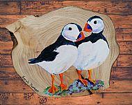 Original Painted Puffins Plaque