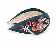 Teal Embroidered Floral Headband