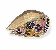 Stone Embroidered Pansies Headband
