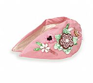 Pink Embroidered Floral Headband