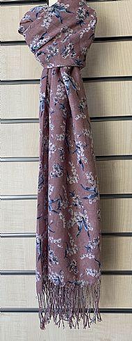 Mauve patterned fringed scarf