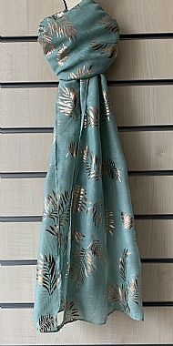 Teal Scarf with gold pattern