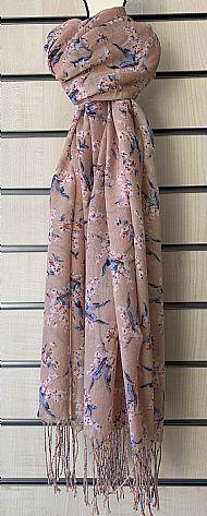 Dusky pink patterned fringed scarf