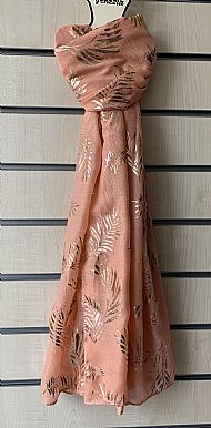 Salmon pink scarf with gold pattern