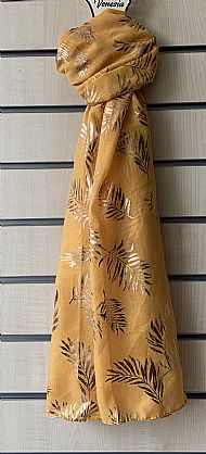 Yellow/mustard scarf with gold pattern