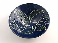 Medium blue leaves bowl