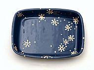 Flowers oven dish - rectangular, cobalt and cream