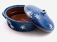 Flowers lidded casserole - blue and white
