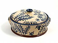 Birds lidded casserole - round with handles