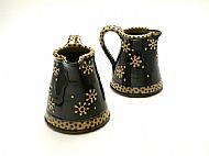 Flower jug, medium honey and navy
