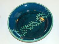 Large petrol blue and green leafy fronds bowl
