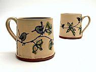 Cream birdy mug medium