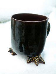 Black straight bird feet mug