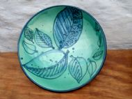 Large shallow green leafy bowl
