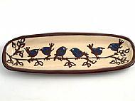 Oblong bread plate - birds