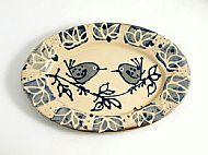 Oval platter -bird pair