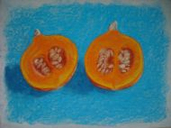 Pumpkin on turquoise - fruit pastel, prints available