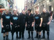 Skerryvore preparing for the Tartan Parade in New York 2011