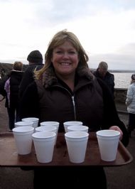 Jenny with hot toddies for Splashers