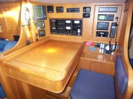 chart table, electric switch panel and instruments, starboard side