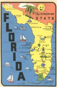 State Map Sunshine State  (blue sea)