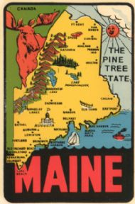 State Map Pine Tree State