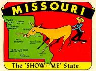 State Map Show Me State, Farmer pushing Donkey