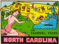 State Map Tarheel State & Bathing Beauty