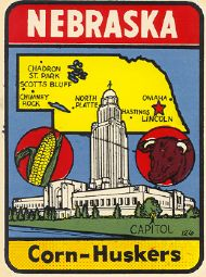State Map Corn-Huskers & capitol view