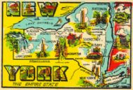 State Map Empire State, large letter style