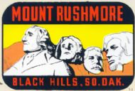 Mount Rushmore, yellow sky