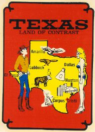 State Map Land of Contrast,with Cowboy and Pinup