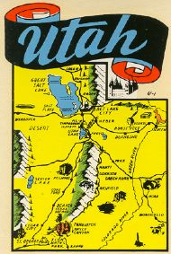 State Map blue letters Utah