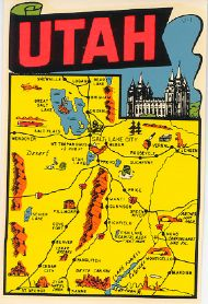 State Map red letters Utah