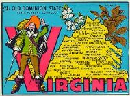 State Map Old Dominion State with Old Style Soldier